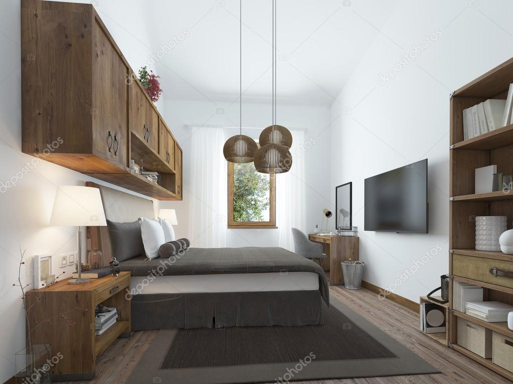 Schlafzimmer Modern Style Large Bedroom In Modern Style With Elements Of A Rustic Loft