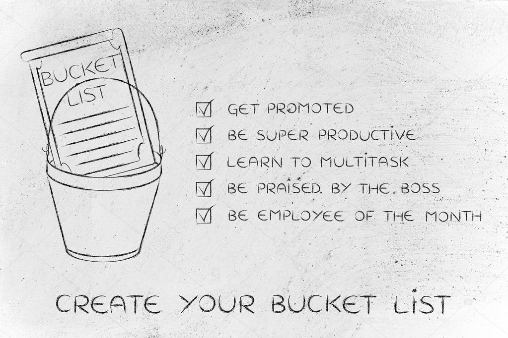 bucket list with employee\u0027s career goals, ticked off \u2014 Stock Photo - list of career goals