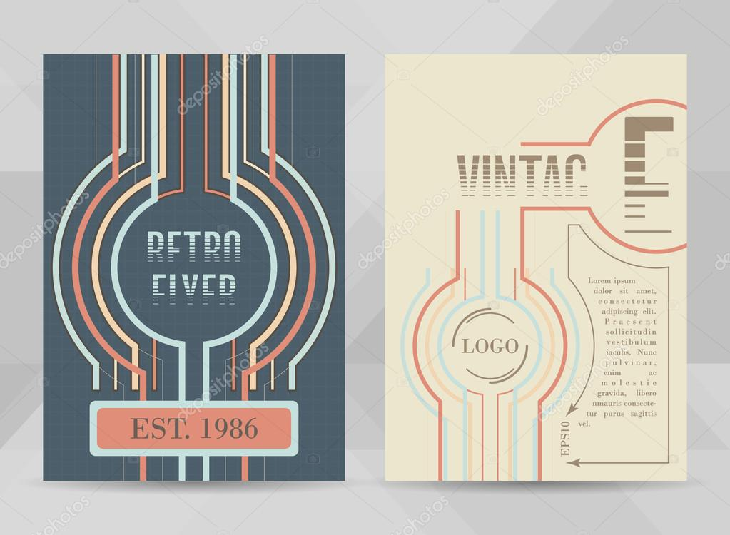 Retro flyer template A4 size Business brochure, cover design or