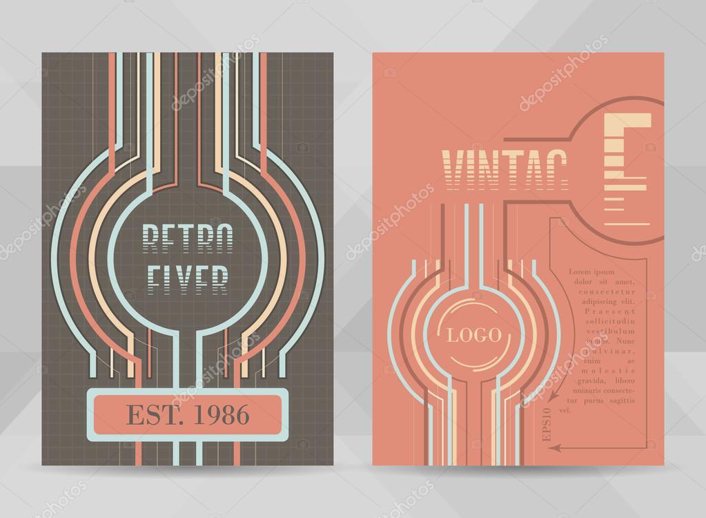 Retro flyer template A4 size Business brochure, cover design or - retro brochure template
