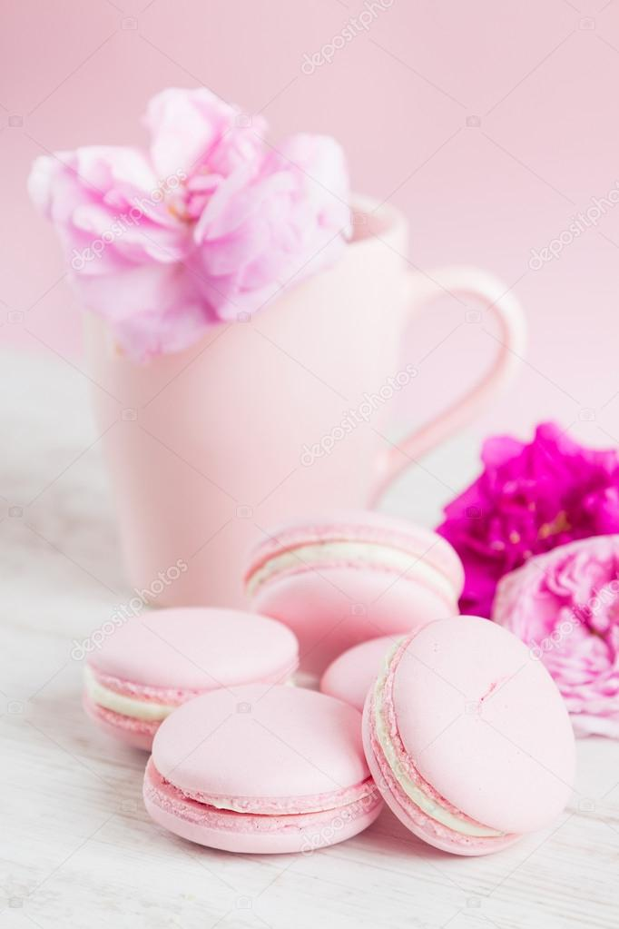 Cute Girly Wallpaper For Bedroom Macarrones Rosa Pasteles Y Taza De T 233 Con Rosa Foto De