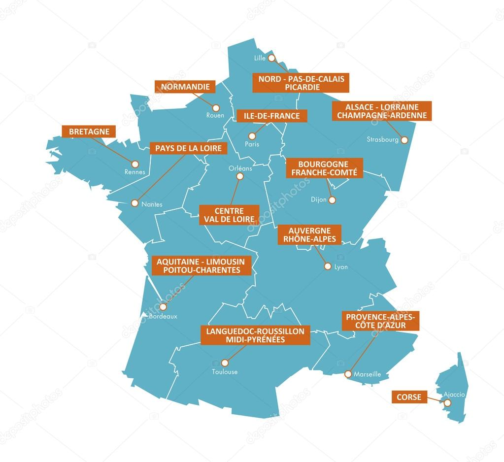 Regions De France Regions Of France Map Cities 3 Stock Vector Brunpascal