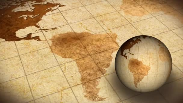 Vintage Rotating Globe And Map Of The World Background Animation