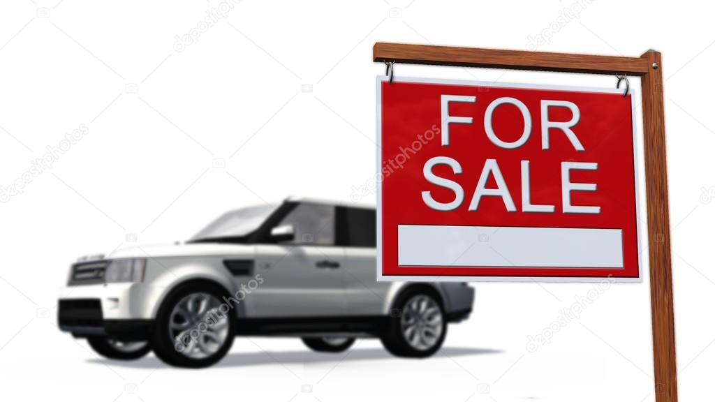 Car for sale Sign in front of a car \u2014 Stock Photo © Bestgreenscreen