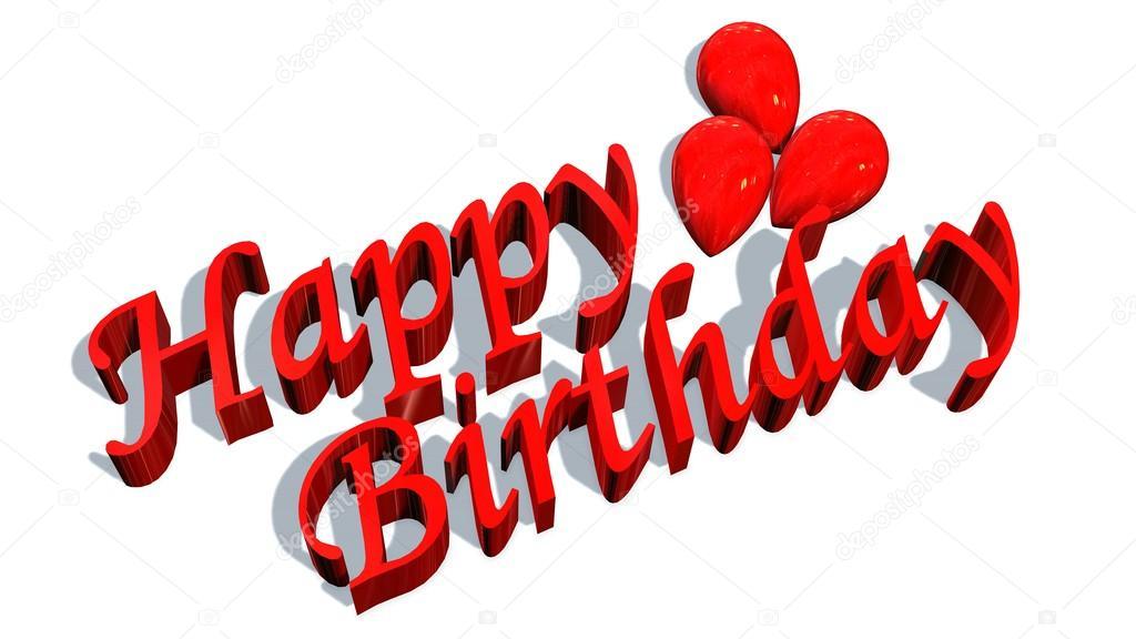 Happy birthday words with balloons \u2014 Stock Photo © Bestgreenscreen