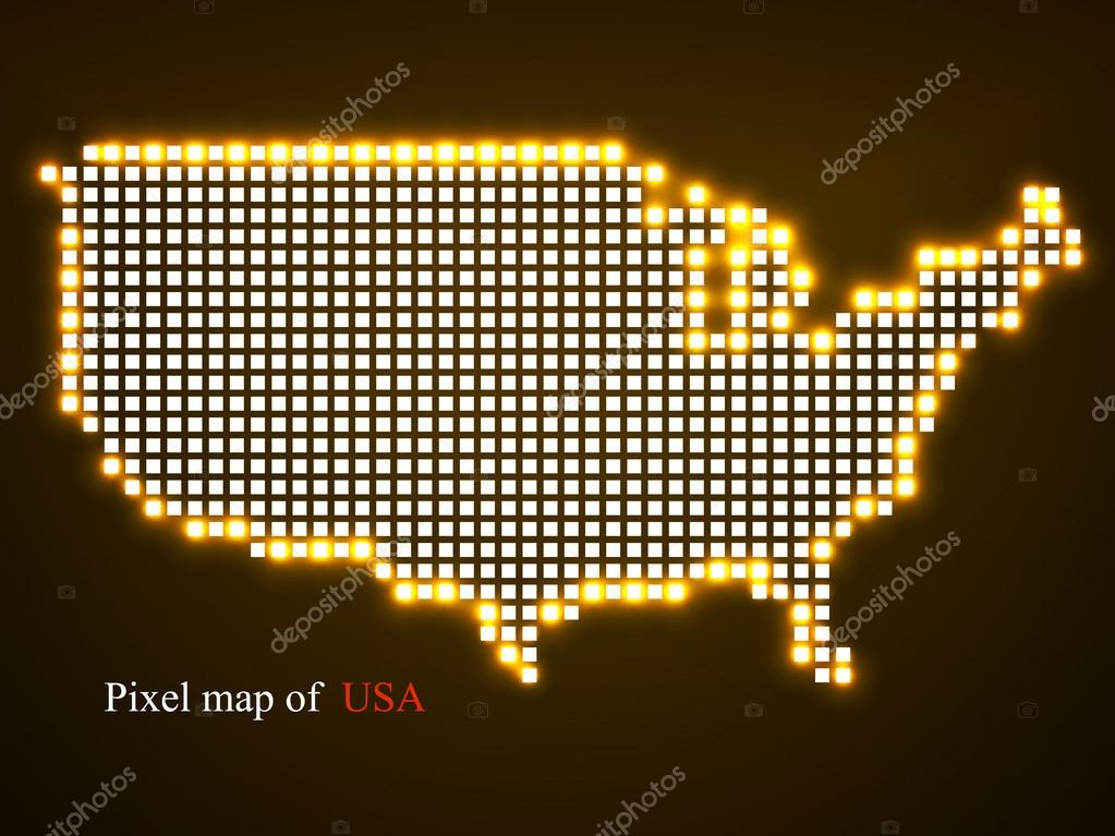 Pixel map of USA Technology style with glow effect Colorful