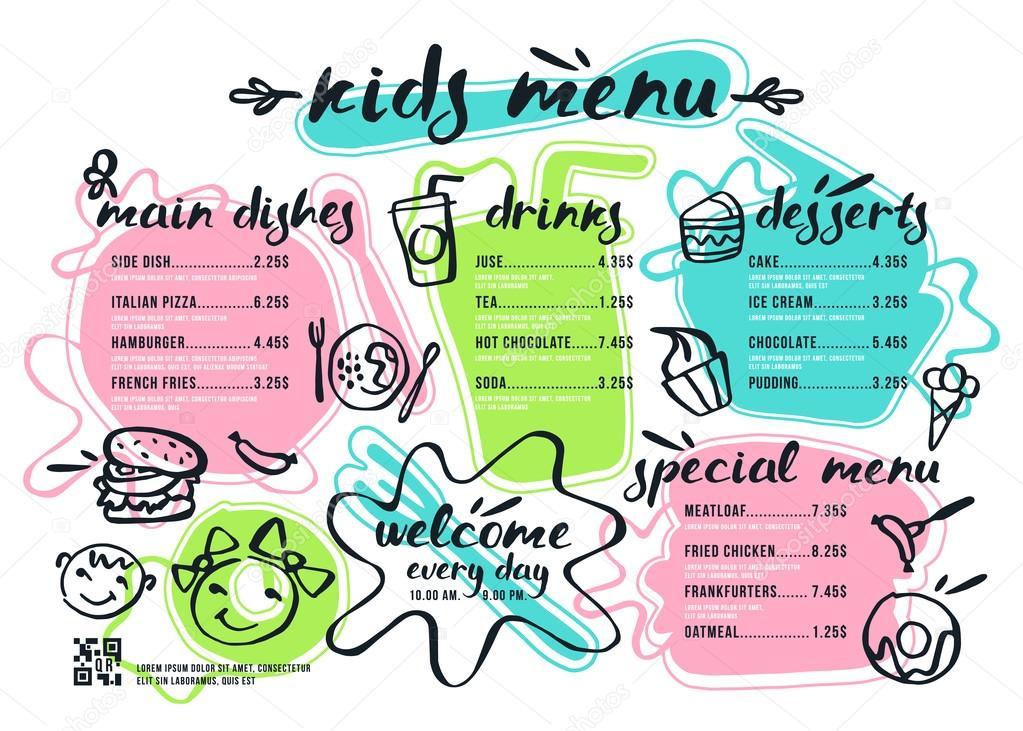 Kids Menu Design Kids Restaurant Menus MustHaveMenus - dinocroinfo - kids menu templates