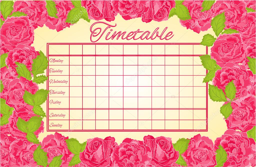 Timetable weekly schedule with pink roses vector \u2014 Stock Vector