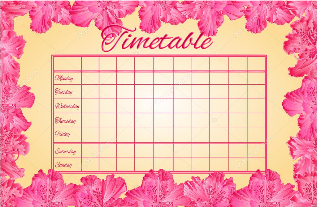Timetable weekly schedule with rhododendron vector \u2014 Stock Vector