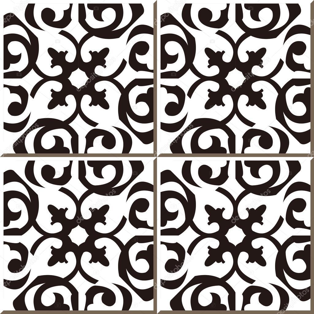 Black Live Wallpaper Vintage Seamless Wall Tiles Of Black White Curve Spiral