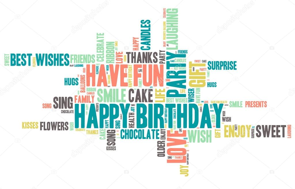 Happy Birthday Celebration - Word Cloud \u2014 Stock Vector © mvancaspel