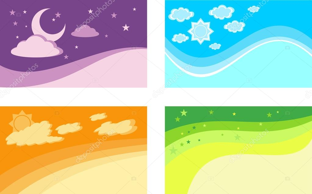 Set of backgrounds for business cards The seasons and time of d