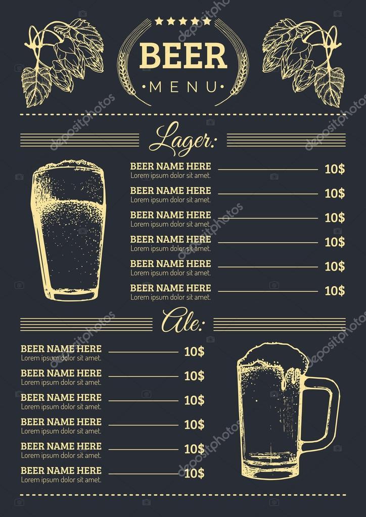 Beer menu design template \u2014 Stock Vector © vladayoung #87207738