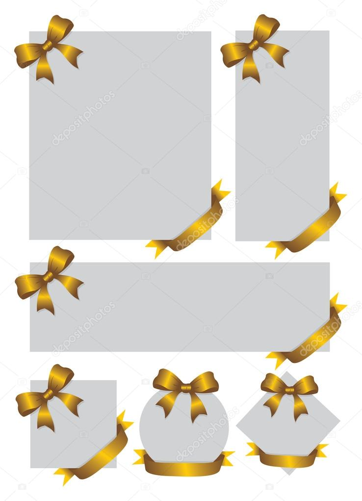 Blank Gift cards and notes with gold ribbons \u2014 Stock Vector