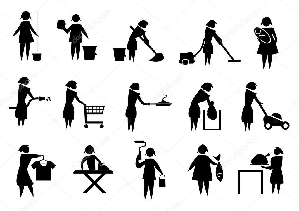 Femme au foyer, faire les tâches ménagères \u2014 Image vectorielle - les taches menageres