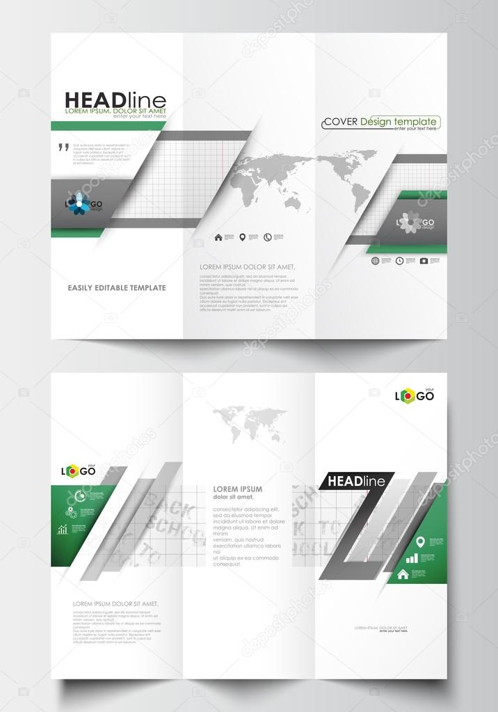 Tri-fold brochure business templates on both sides Easy editable