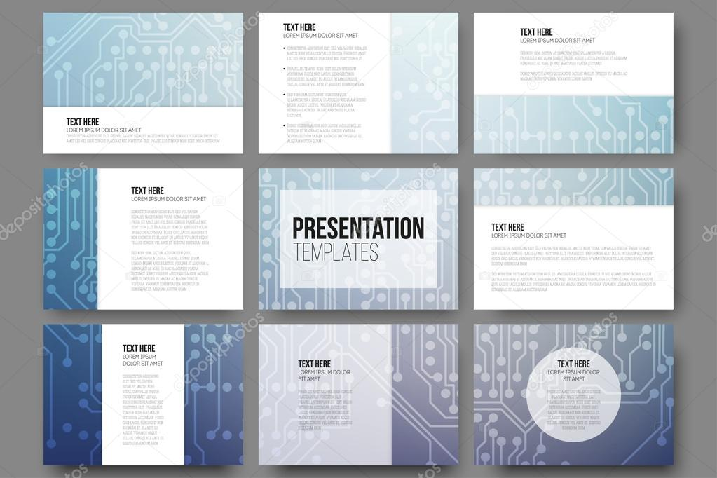 Set of 9 vector templates for presentation slides Abstract