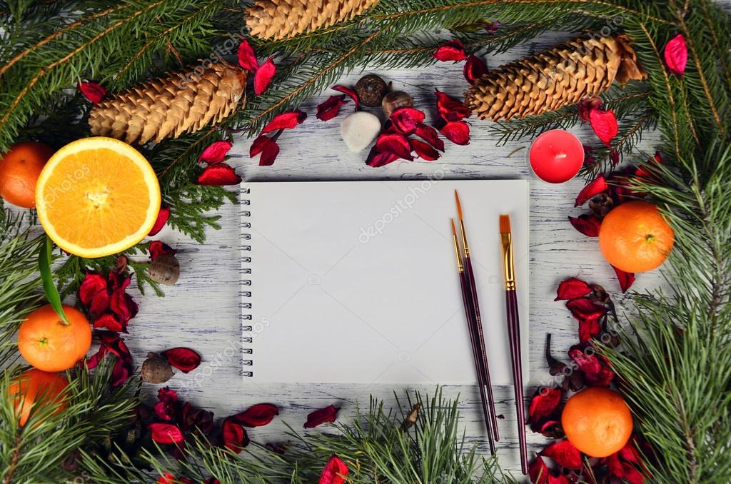 Christmas Card border design with art brushes and album \u2014 Stock