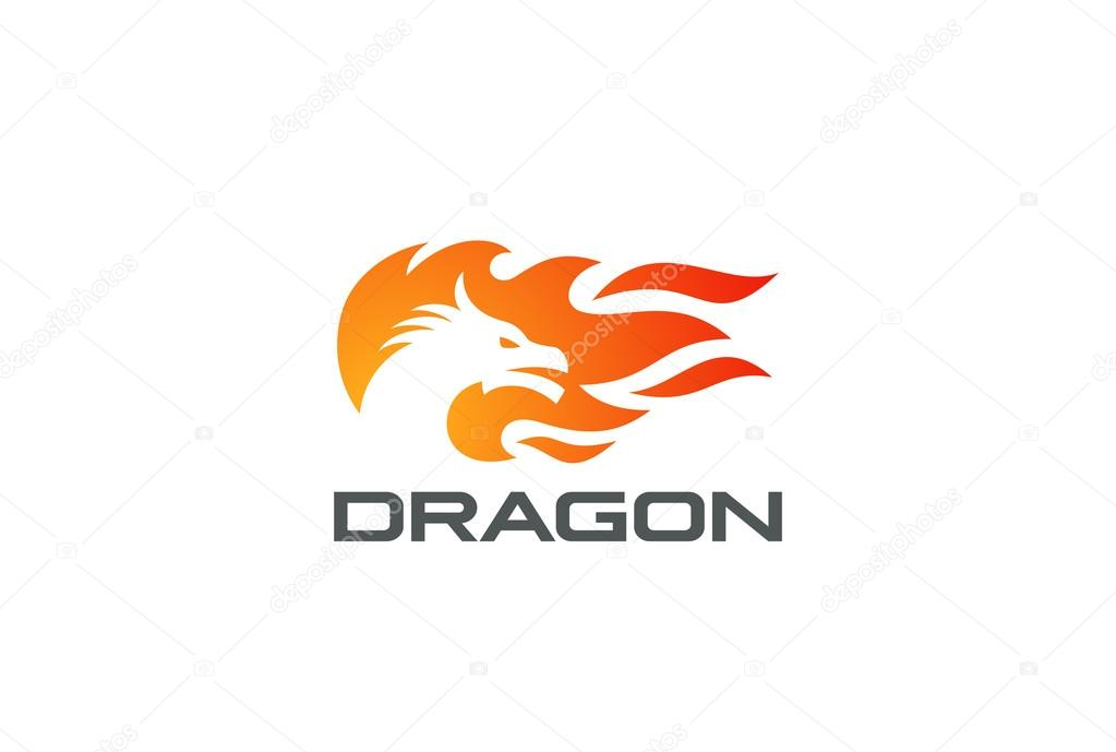 Dragon Fire Flame Logo design vector template Negative space style - flame logo