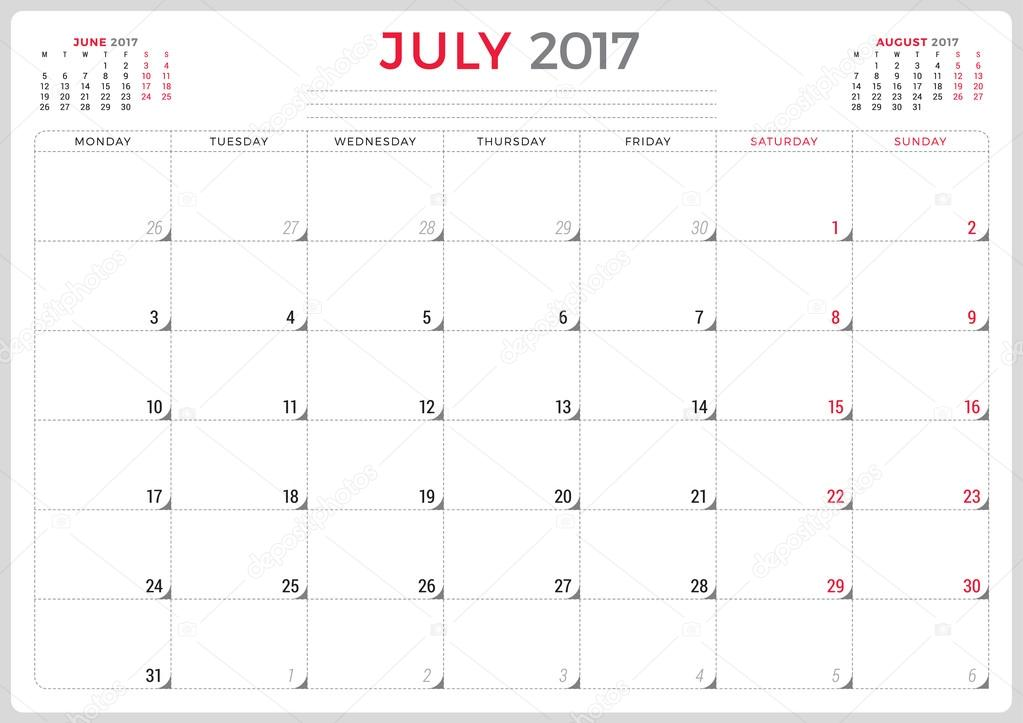Calendar Planner for 2017 Year Vector Design Template July Week