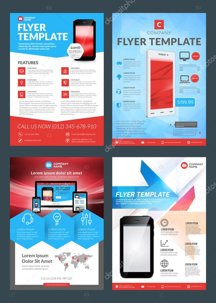 Set of Business Flyer Design Templates for Mobile Application or New