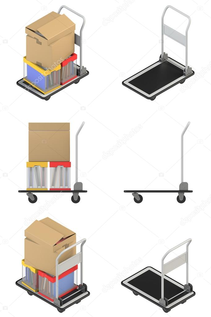 Isometric view and a side view of the hand truck \u2014 Stock Photo - isometric view