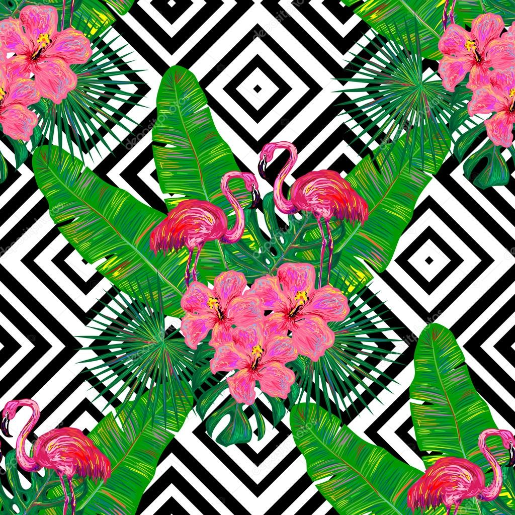 Black And Pink Floral Wallpaper Summer Tropical Pattern With Flamingo Grafika Wektorowa