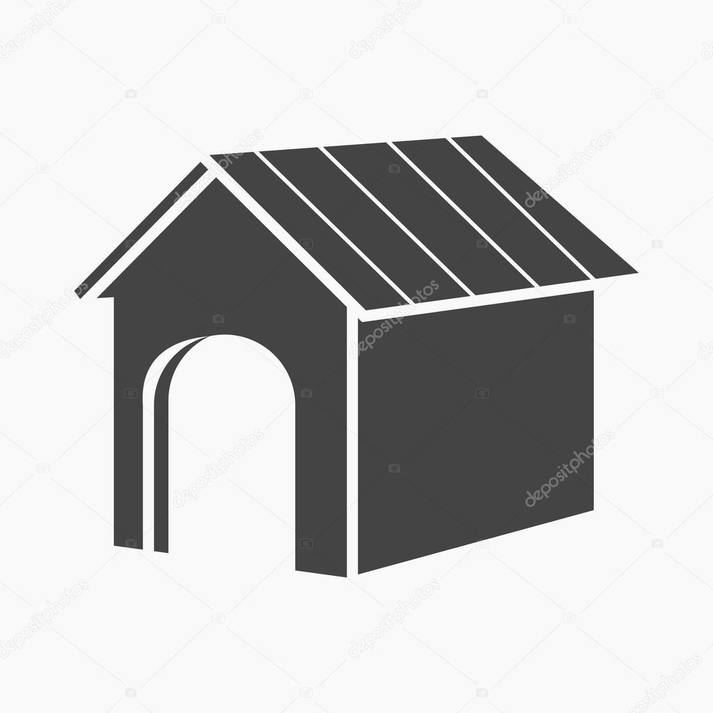 Niche Design Chien Doghouse Vector Icon In Black Style For Web Stock Vector