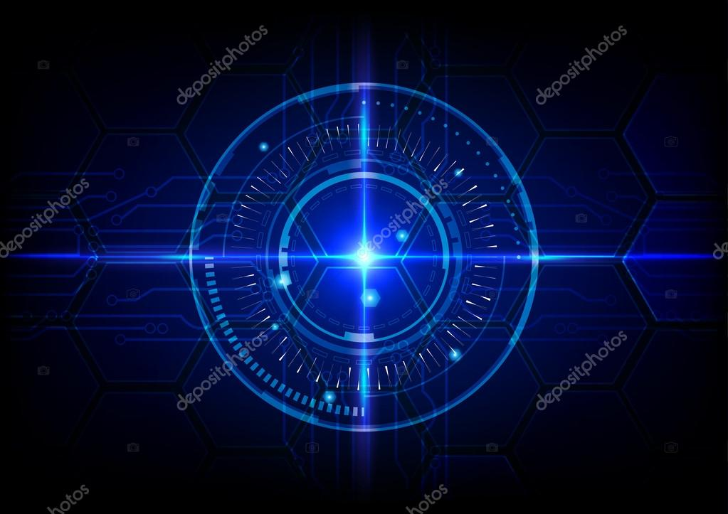 abstract tech circles with circuit background design with light - circuit design background