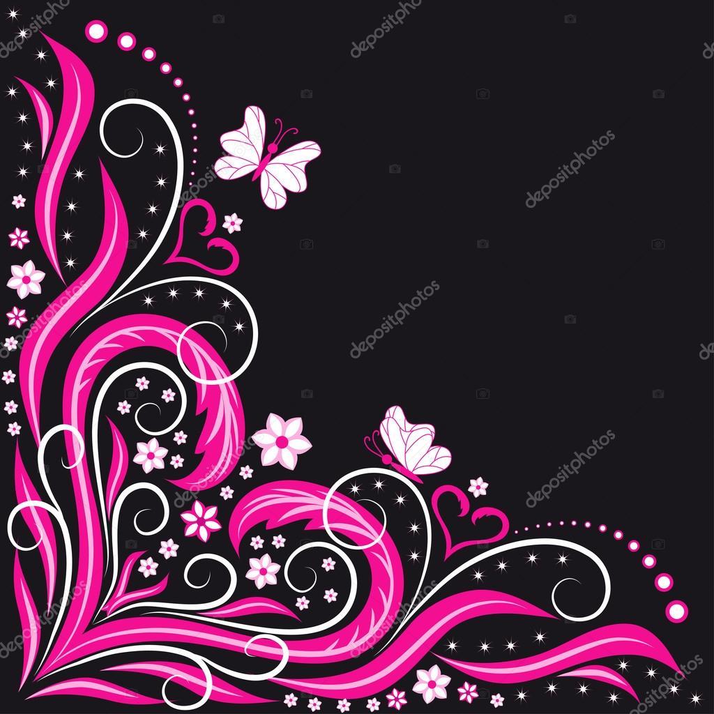 Black Animal Print Wallpaper Cora 231 227 O Rosa Em Fundo Preto Vetor De Stock 169 Goriun