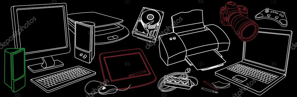 Background with sketches of computer hardware, accessories and p - background sketches