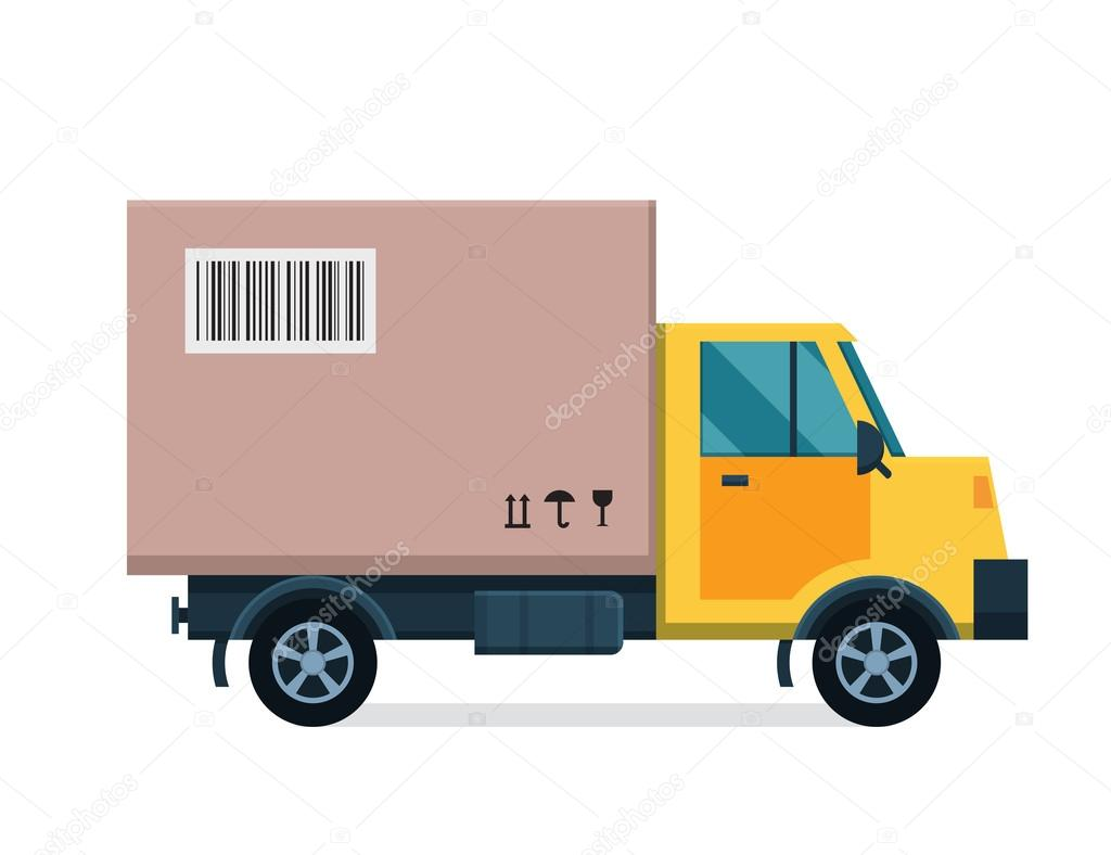 Gifi Livraison Delivery Vector Transport Truck Van And Gift Box Pack