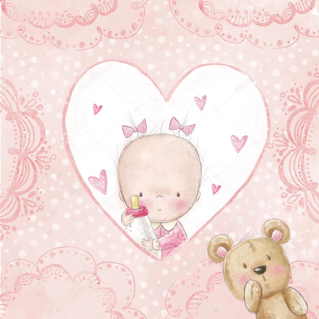 Cute Teddy Bear Live Wallpaper Free Download Baby Shower Greeting Card Baby Girl With Teddy Love