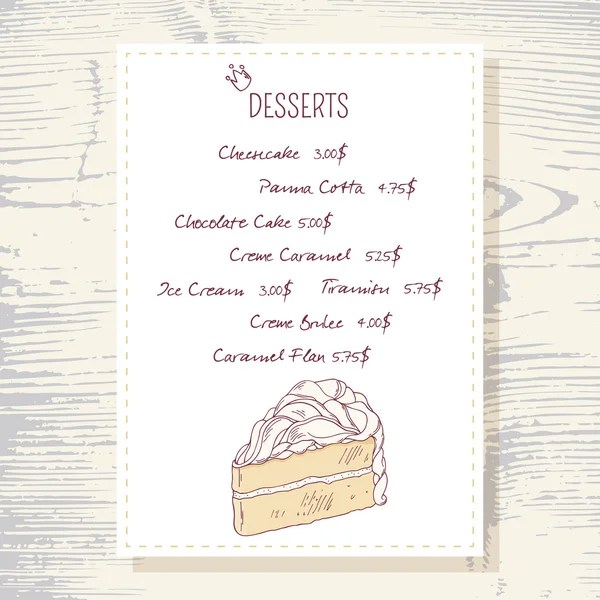 Template for dessert menu with sweet tasty cakes Hand drawn design - dessert menu template