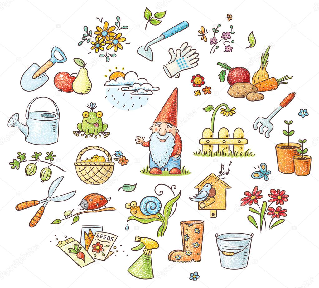 Tuinieren Set Cartoon Tuinieren Set Stockvector Katerina Dav 70208497