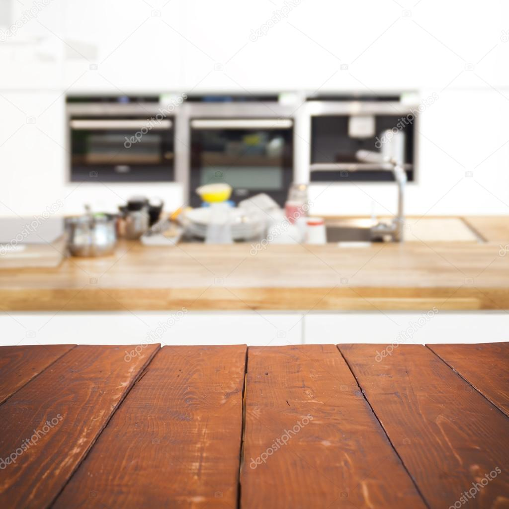 Mesa Cocina 30 Cm Fondo Empty Wooden Table And Blurred Kitchen Background Stock