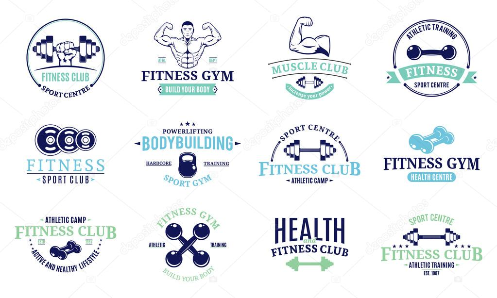 Fitness gym labels templates, badges, fitness equipment icons and