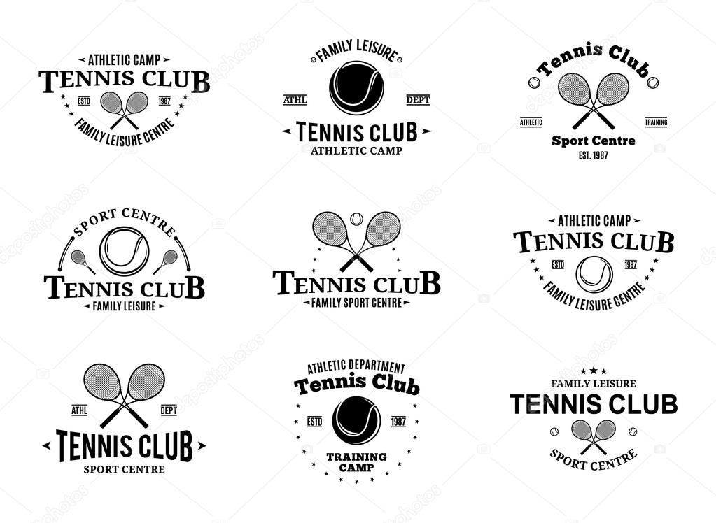 Tennis Club Labels Templates and Design Elements \u2014 Stock Vector