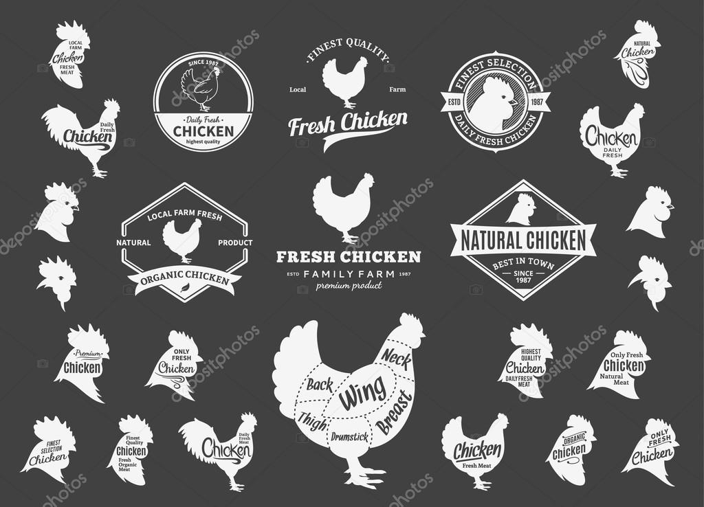 Vector Chicken Logo, Icons, Charts and Design Elements \u2014 Stock