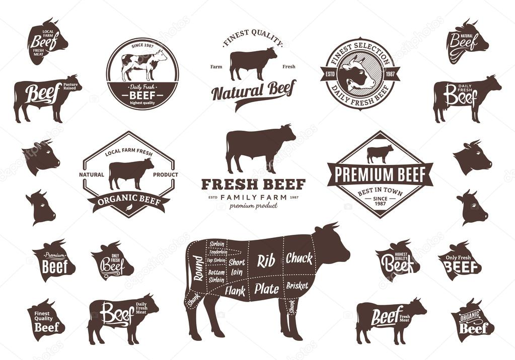 Vector Beef Logo, Icons, Charts and Design Elements \u2014 Stock Vector