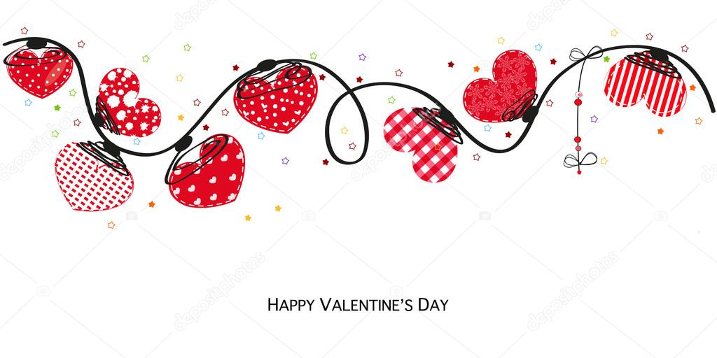Hearts valentine day Happy valentines day card Border design vector
