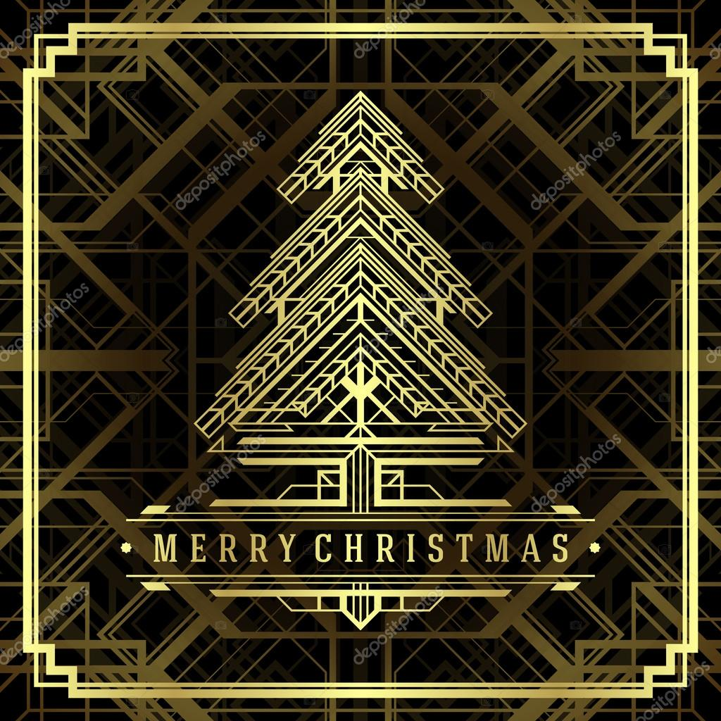 Photo Art Deco Christmas Tree Art Deco Style Background Stock Photo