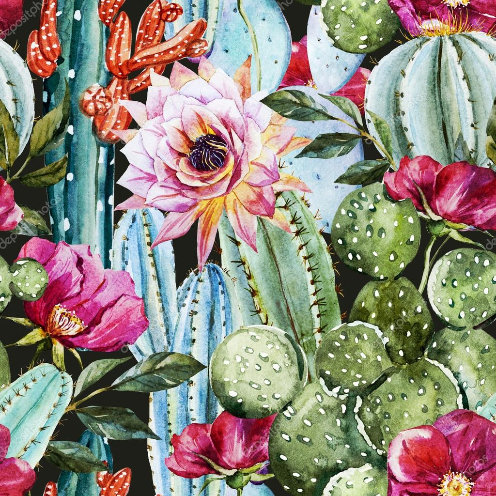 Animal Print Wallpaper Border Watercolor Cactus Pattern Stock Photo 169 Zeninaasya 84953800