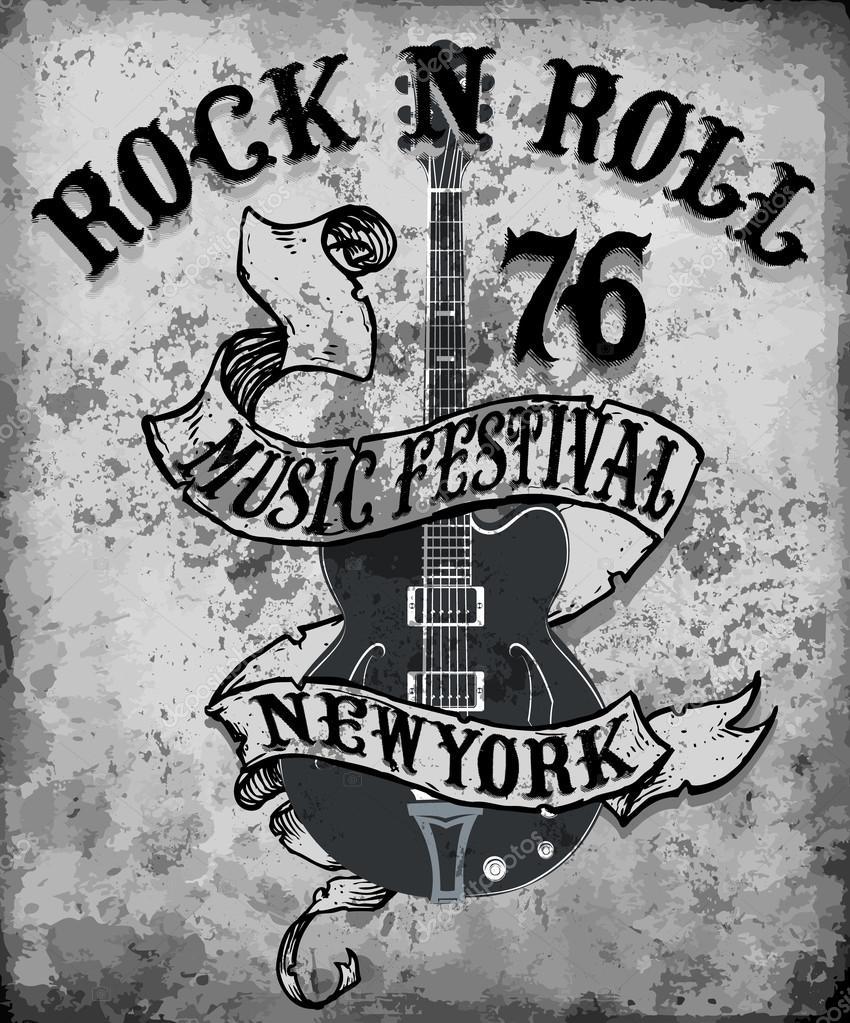 Rock n roll poster guitar graphic design tee vector art stock vector 114886446