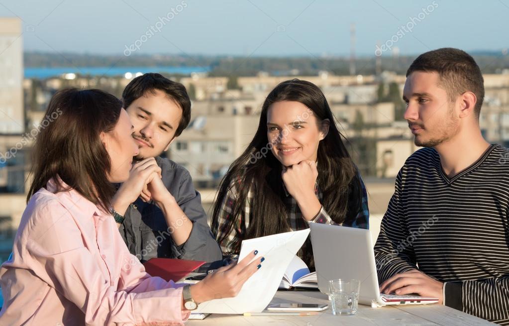 Mixed Group on Informal Business Meeting \u2014 Stock Photo © AlexBrylov
