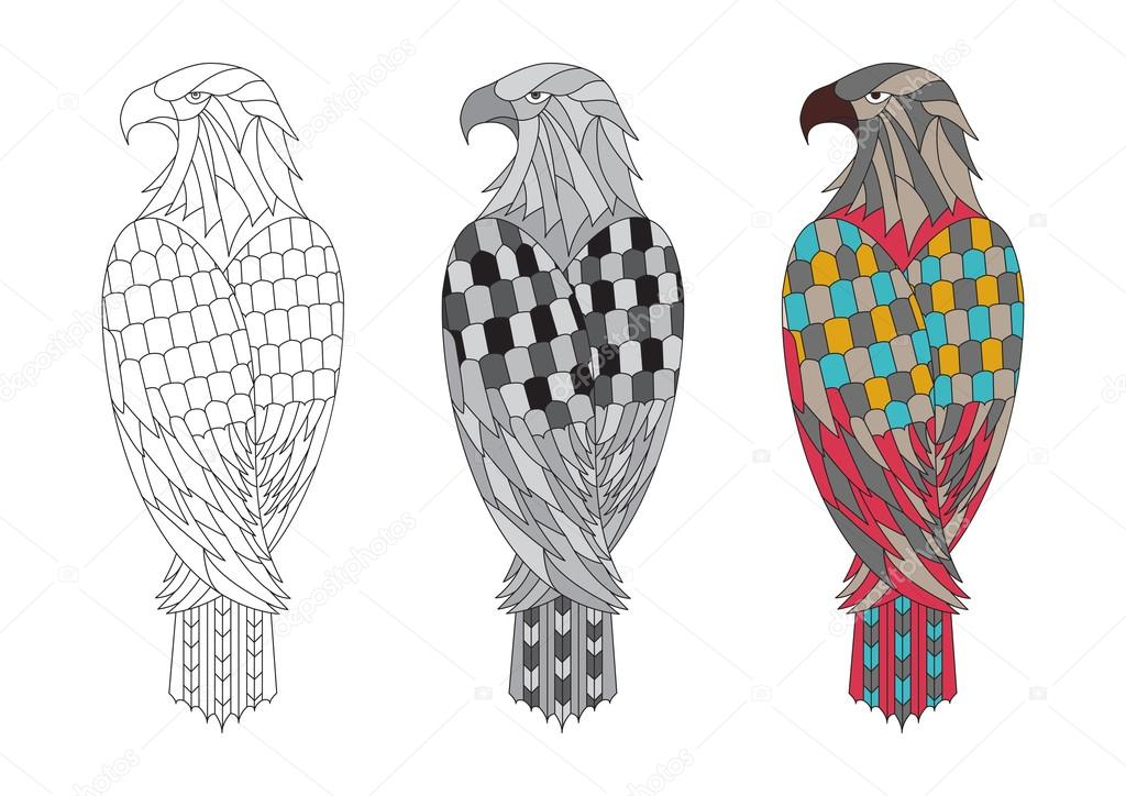 vector Printable coloring page for adults with the eagle \u2014 Stock