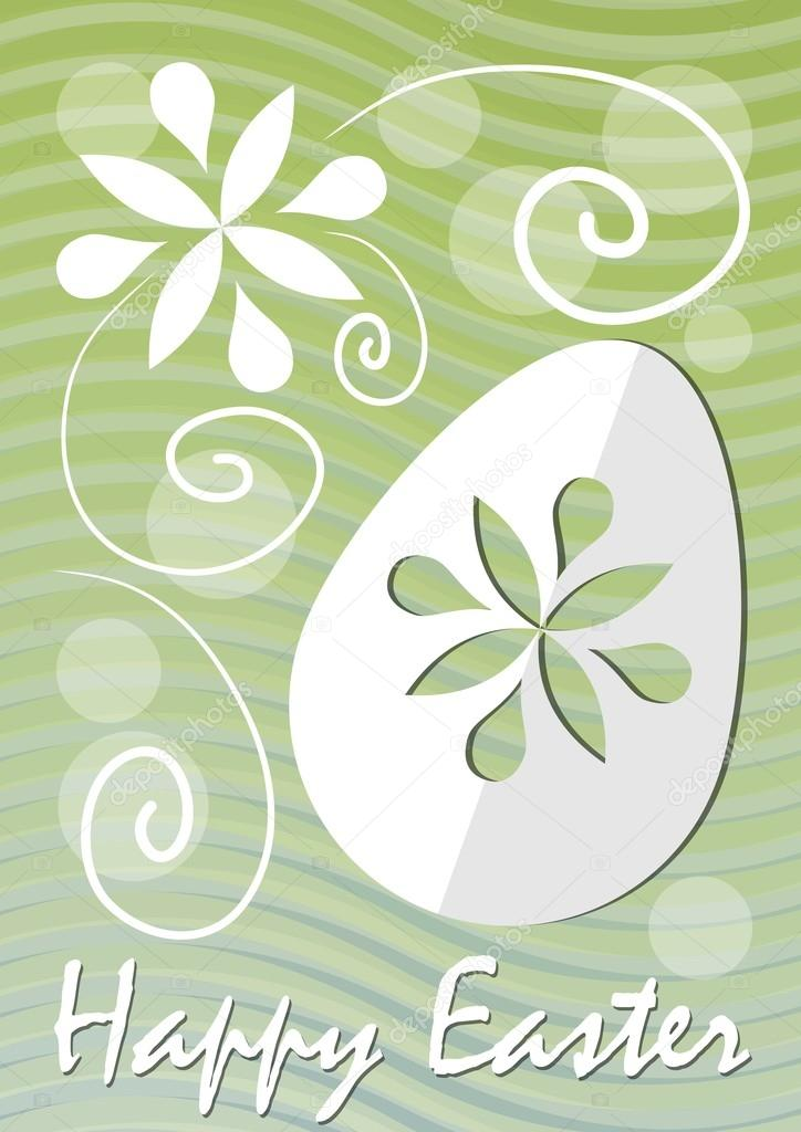 Happy Easter fine green wavy background with easter egg paper cut