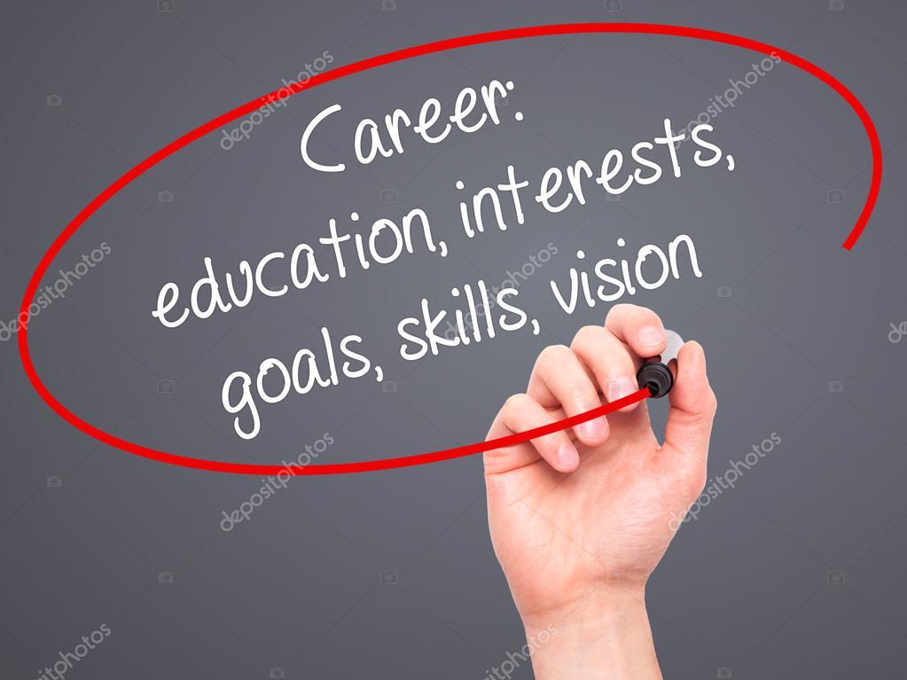 Man Hand writing Career education, interests, goals, skills, vi