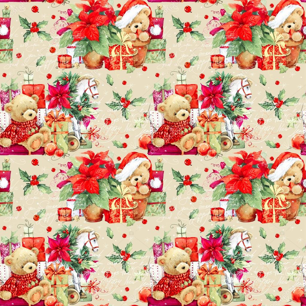 Cute Teddy Bear Live Wallpaper Free Download Christmas Seamless Pattern Christmas Wrapping Paper