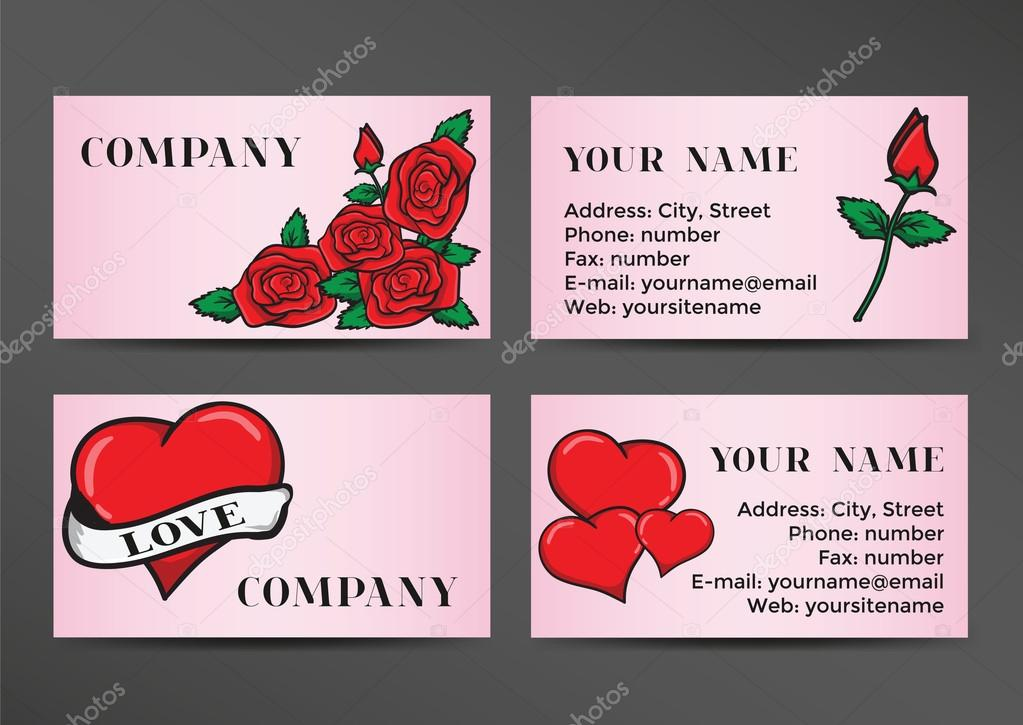 Business card in the old school style Design with hearts and roses